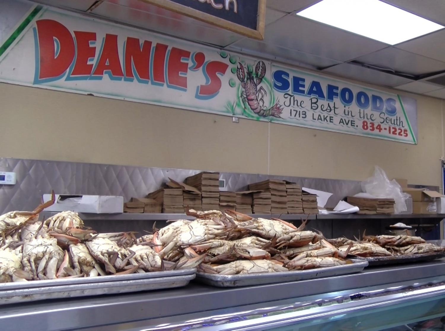 Trays of crabs sit on the counter of Deanie's Seafood Market. Deanie's was not affected by the new seafood bill due to selling local shrimp and crawfish. Photo credit: Cody Downey