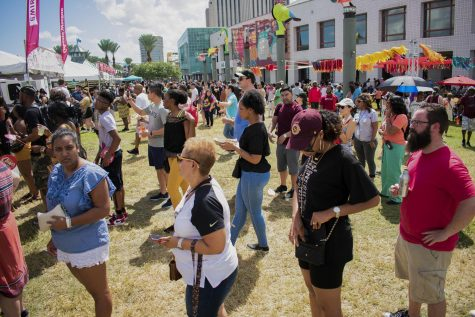 A crowd of people wait in line at New Orleans Fried Chicken Festival. There were over 30 vendors at this year