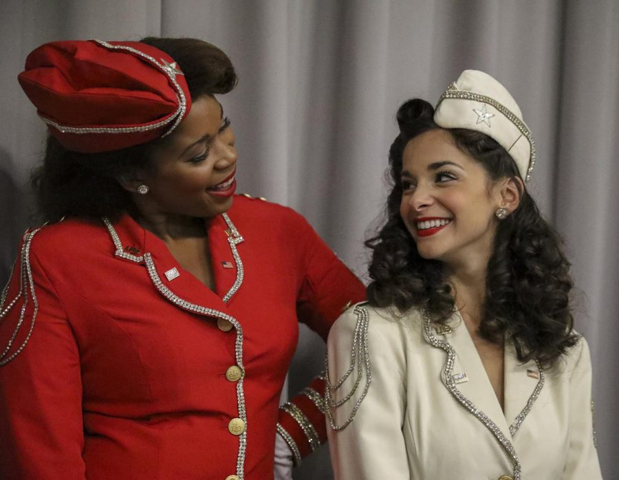 Loyola alumna Jessica Mixon (left) and Musical Theatre senior Haley Taylor (right) visit campus dressed in full costume on Sept. 5, 2019. The duo perform at the National WWII Museum as Victory Belles.