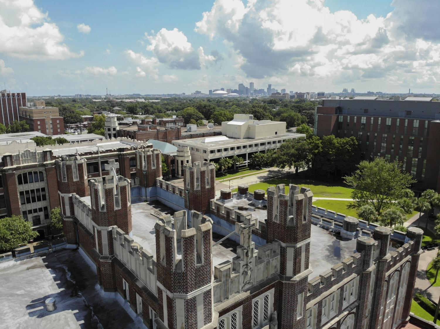 The Mercedes-Benz Superdome sits on the horizon of at Loyola. The Superdome was the previously planned host of the spring 2020 commencement which will now be in the Ernest N. Morial convention center.