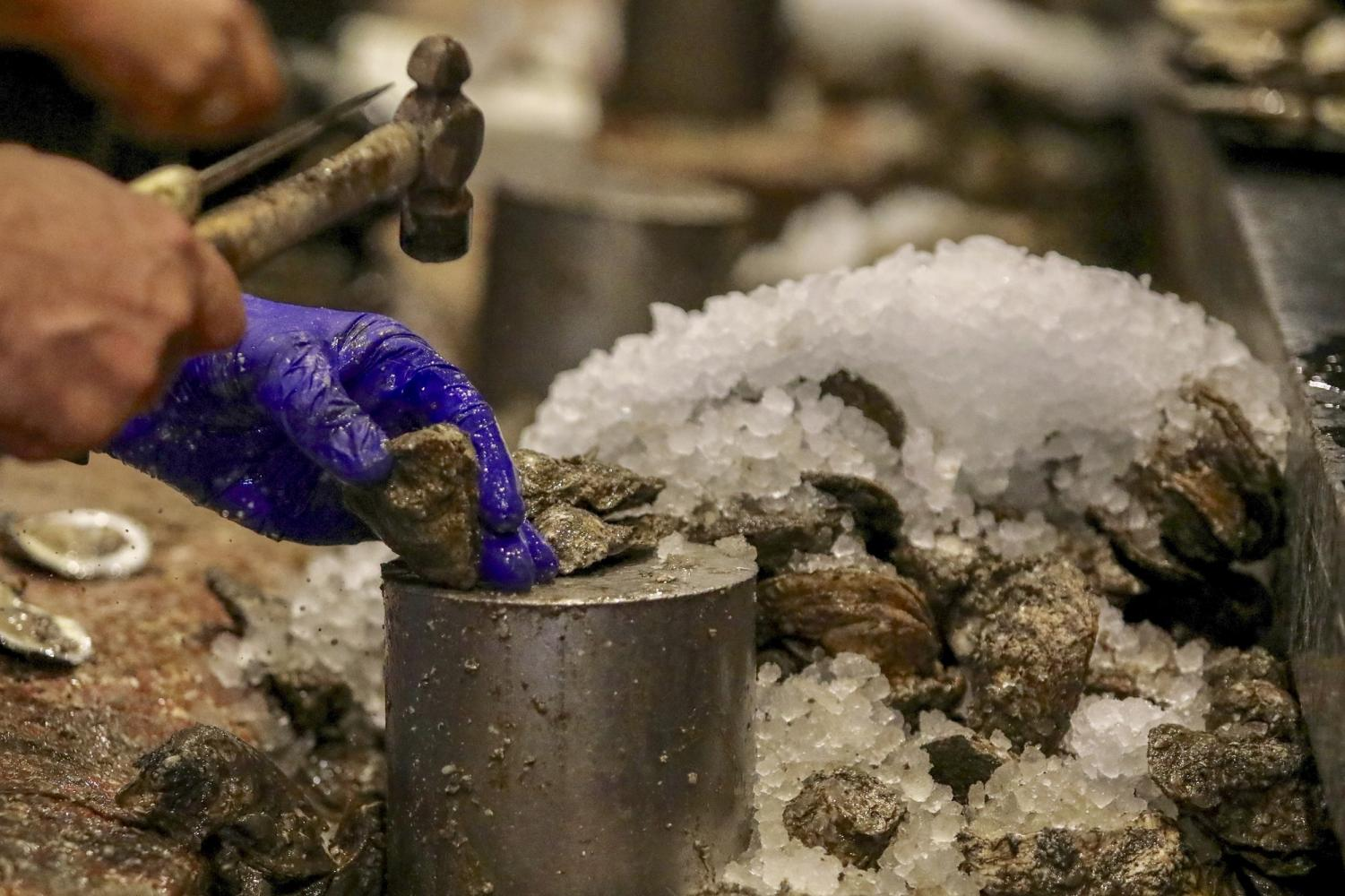 Shuckers crack open oysters at Drago's Seafood Restaurant in Metairie, Louisiana. The restaurant business is one of the industries impacted by the Bonne Carre Spillway openings this year. Photo credit: Andres Fuentes