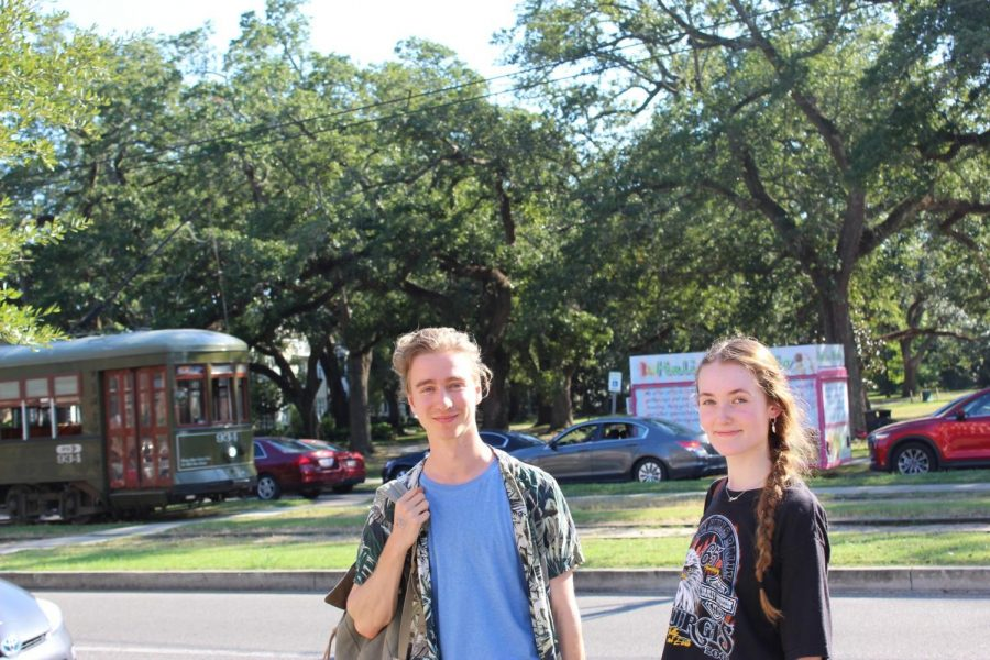 Bab and Hepburn pose in front of the street car. Both are European students studying abroad for the semester. Photo credit: Gabriella Killett
