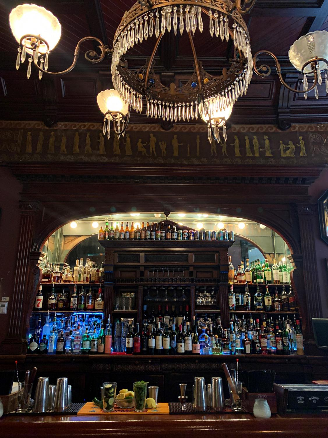 The Columns bar sits inside the St. Charles Hotel on a slow afternoon. Makayla Wynia serves drinks here while also working on her homework. Photo credit: Lucy Foreman