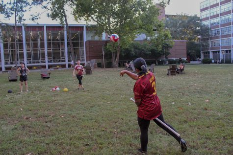 The quidditch team practices in the Residential Quad on Loyola