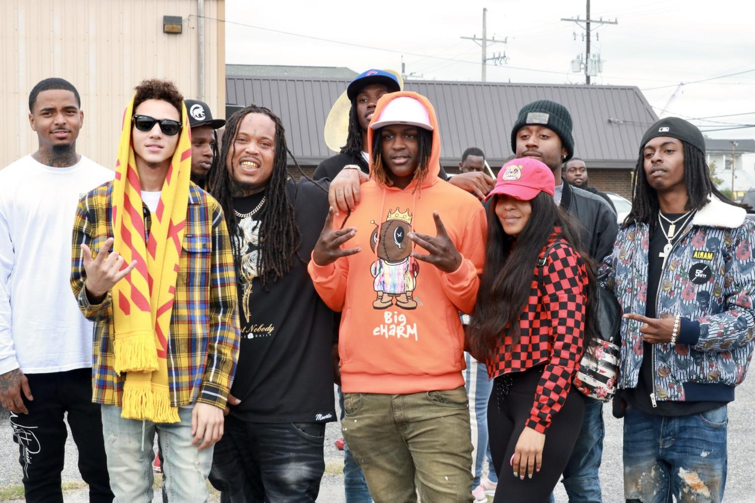Cash Money Records artists pose for a photo at the 23rd annual Turkey Giveaway on Nov. 26, 2019. Photo credit: Andres Fuentes