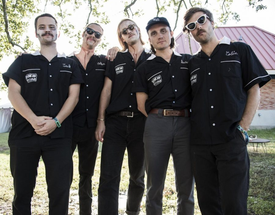 Duncan Fellows, Austin-based indie rock band, pose for a portrait after performing at Voodoo Fest on Sunday, October 27.