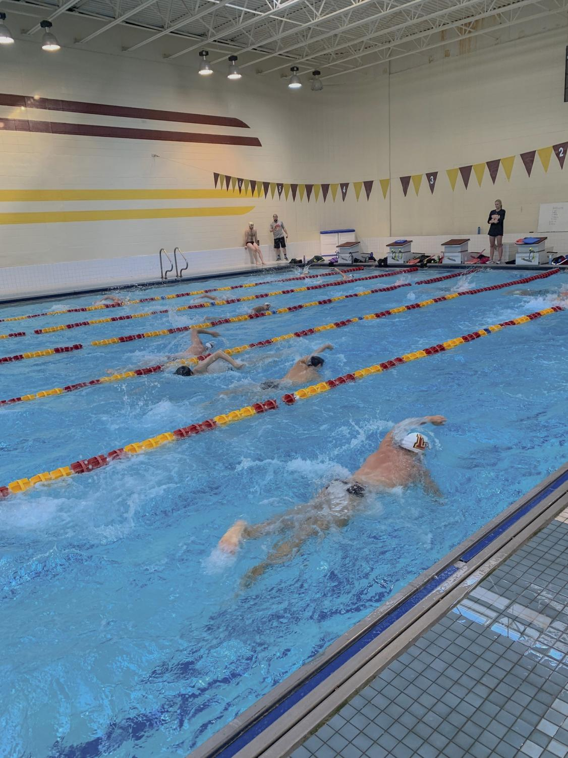 Both the men's and women's swim teams practice early in the morning during the week.  They are preparing for their next meet in San Antonio on Nov. 21, 2019. Photo credit: Courtesy of Parker Elliott