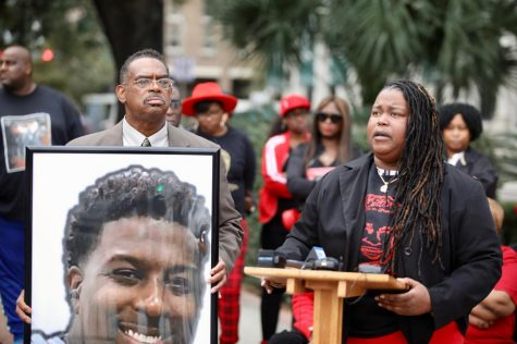 Garenita Bailey, victim's cousin, and Rev. Raymond Brown speak at Wimberly's vigil on Saturday, Oct. 7, 2019 in front of Hard Rock collapse site. Photo credit: Andres Fuentes