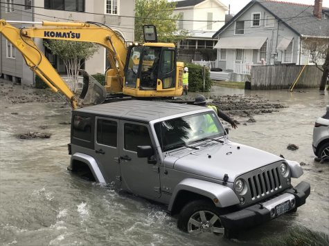 Tulane graduate student Emily Ramier had water rise up to her Jeep Wrangle after the water main on Calhoun and S. Johnson Streets broke on December 6, 2019. Photo credit: Jade Myers