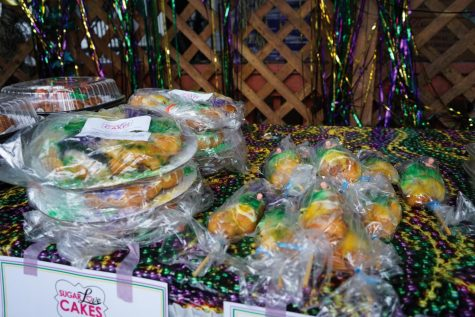Different varieties of king cake sit in a line at King Cake Hub. This was just a small selection available.