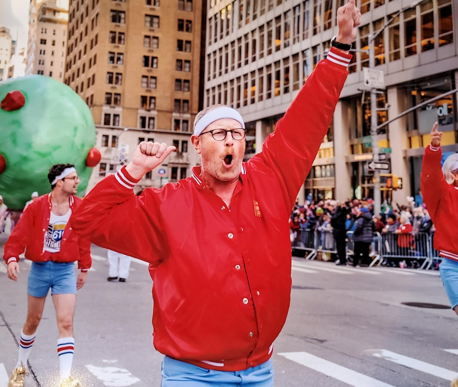 Kern Maass, dean of the College of Music and Media, performs with the 610 Stompers during the Macy's Thanksgiving Day Parade in New York City. Maass is a member of the Year 11 rookie class of the Krewe.