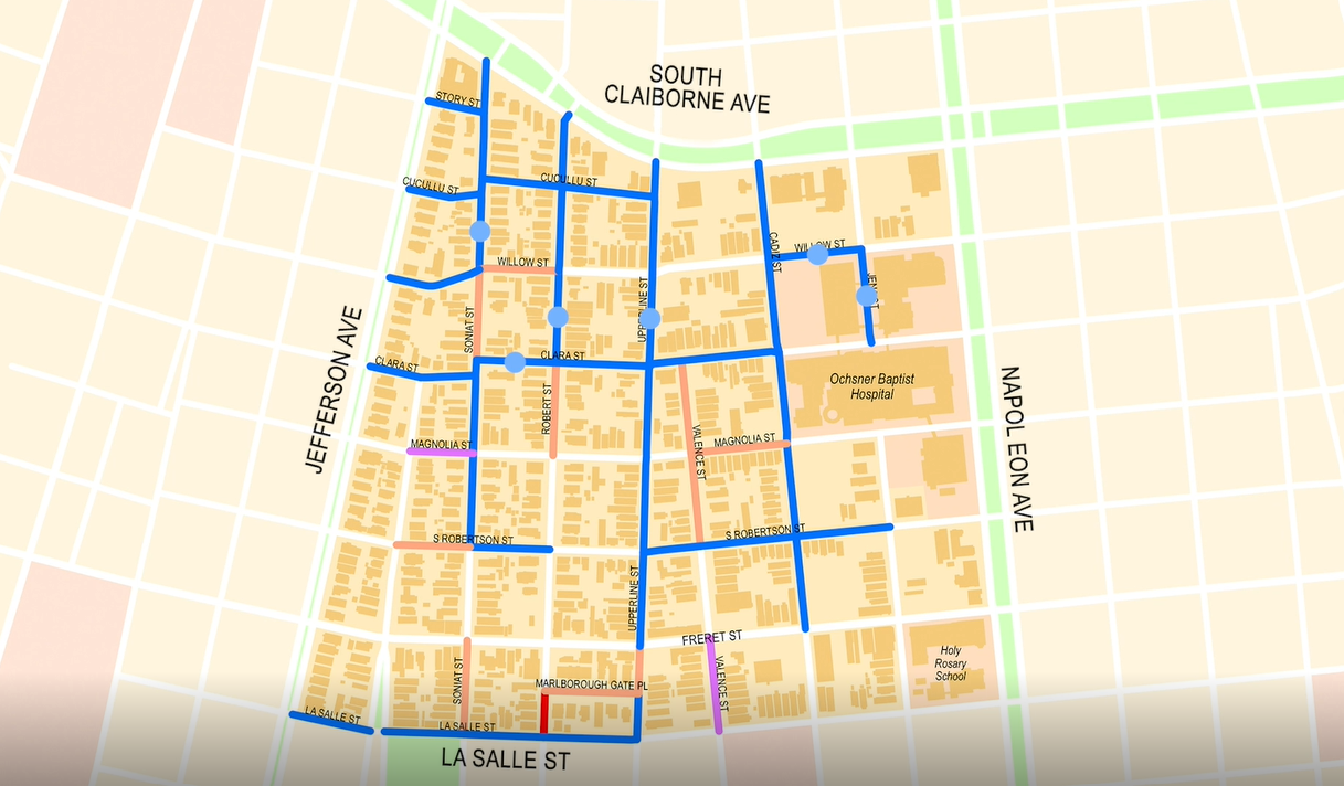 The new $2.2 billion dollar project in the Freret neighborhood will stretch the area from South Claiborne Avenue to La Salle Street and from Jefferson Avenue to Napoleon Avenue. The project aims to repair six watermains, repave streets and sidewalks, and install handicap accessible ramps.