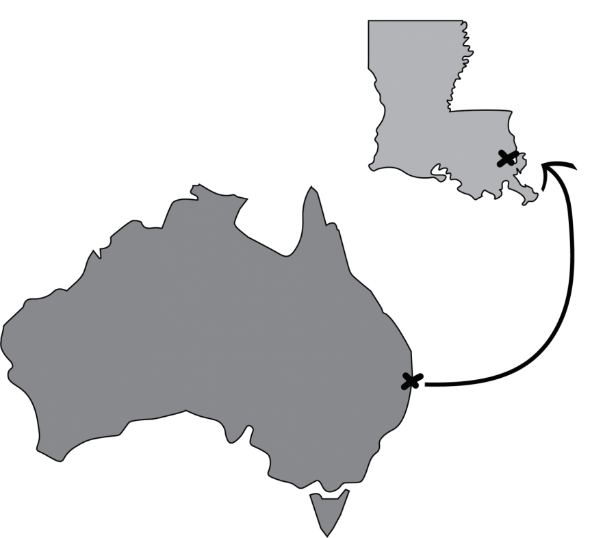 A graphic showing the distance from Australia to New Orleans, Louisiana.