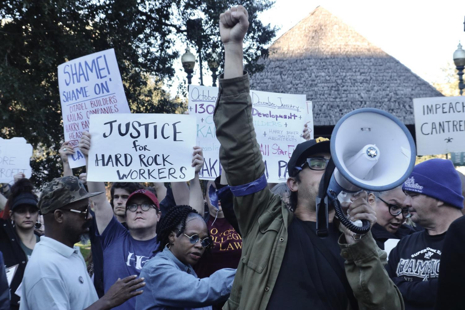 Trey Monaghan leads a march for the Hard Rock collapse victims from the site to Duncan Plaza on January 24. 2020. Photo credit: Andres Fuentes