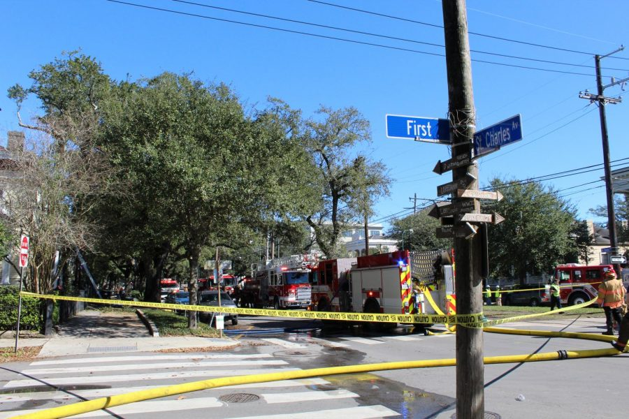 Fire line tape is up near the scene of a four-alarm fire