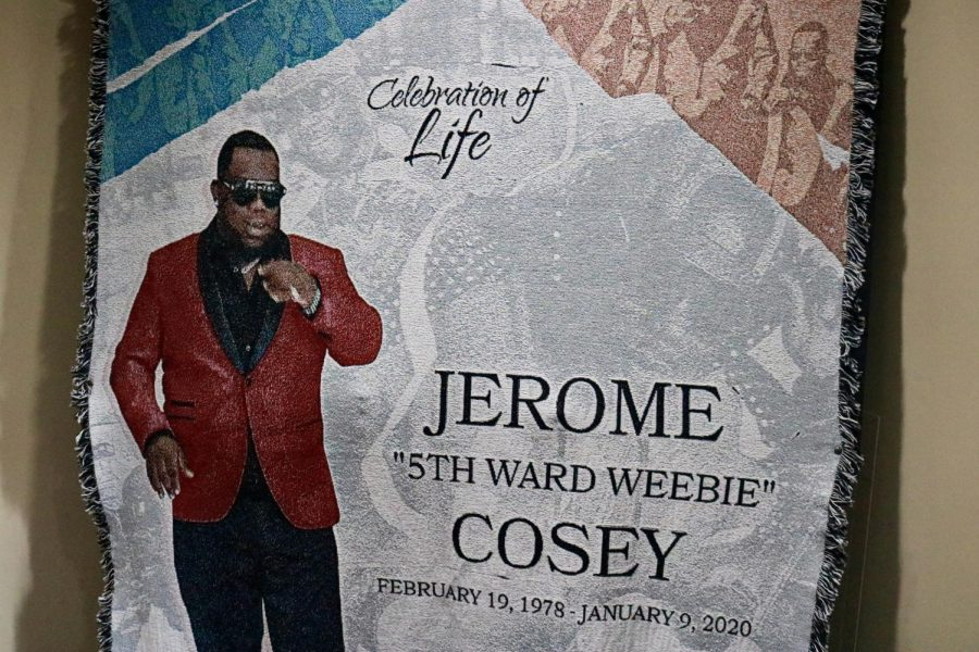 A quilt commemorating 5th Ward Weebie hangs near the entrance to the Mahalia Jackson Theater at his visitation on Jan. 19, 2020. The rapper died on Jan. 9 at the age of 41 after suffering a heart attack.