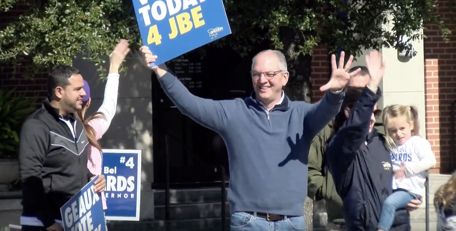 Governor John Bel Edwards campaigning. After taking his second term as governor, John Bel Edwards wants to begin working toward raising teacher pay average to the national level over the next four years.