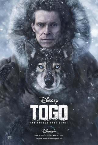 The poster for the film Togo. The poster shows the main character holding the titular dog.