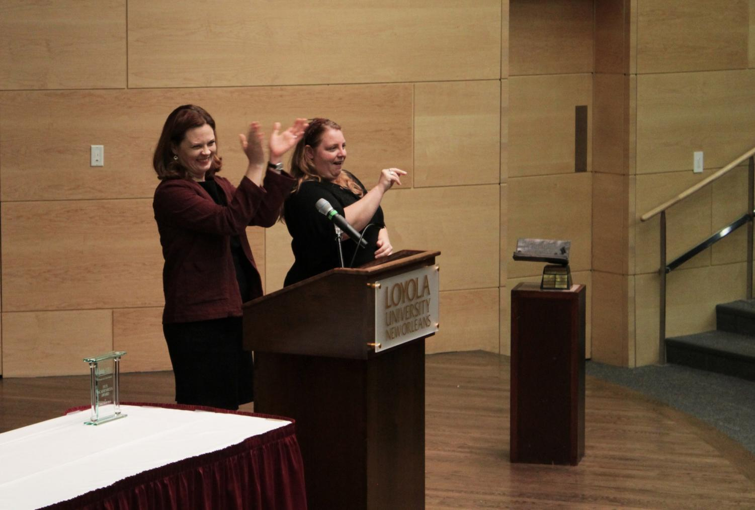 President Tania Tetlow speaks at the Spring Convocation in Nunemaker Hall on Jan. 17, 2020. Tetlow shared news about the university's financial situation at the ceremony.
