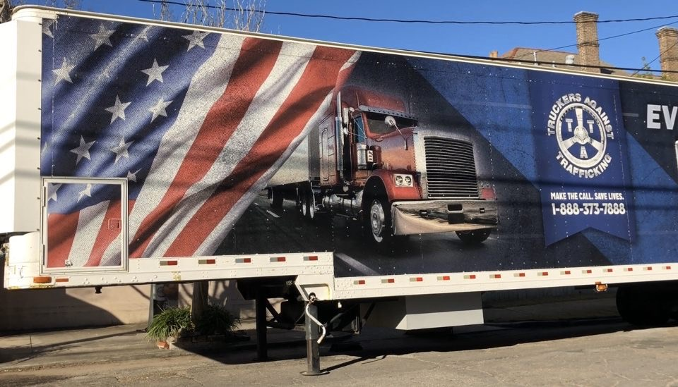 Freedom Drivers Project truck on Jan. 21. Truckers Against Trafficking educate truckers and the public on the dangers of human trafficking.