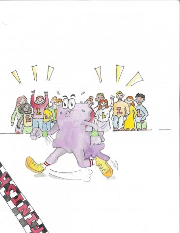An illustration of a crowd cheering on a Louisiana-shaped runner crossing the finish line.