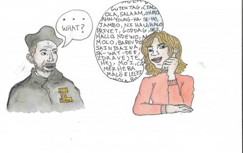 A comic of a woman speaking to St. Ignatius in a foreign language and St. Iganius responding with