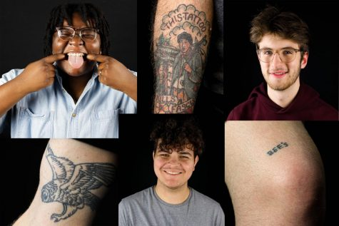 Three students pictured. Three tattoos pictured.
