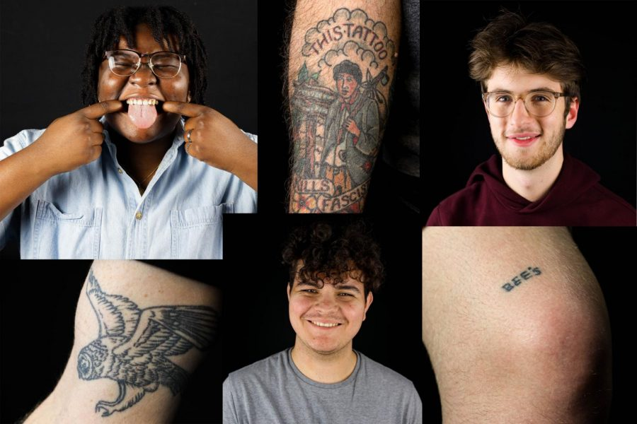 Photo+illustration+of+three+students+along+with+tattoos+featured+in+the+story.+