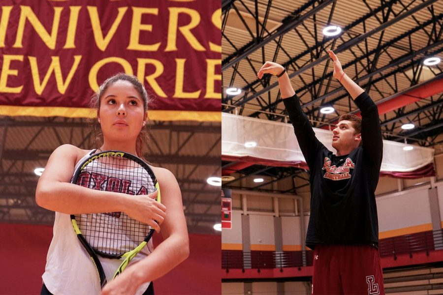 Madelynn+Chavez%2C+political+science+sophomore%2C+who+transferred+from+University+of+New+Mexico%2C+stands+in+the+gym+on+Jan.+10.+Chavez+is+one+of+a+few+student+athletes+who+transferred+to+Loyola+from+an+NCAA+school.+Andrew+Fava+shoots+hoops+in+the+gym+on+Jan.+10.+Fava+transferred+to+Loyola+from+University+of+Florida.