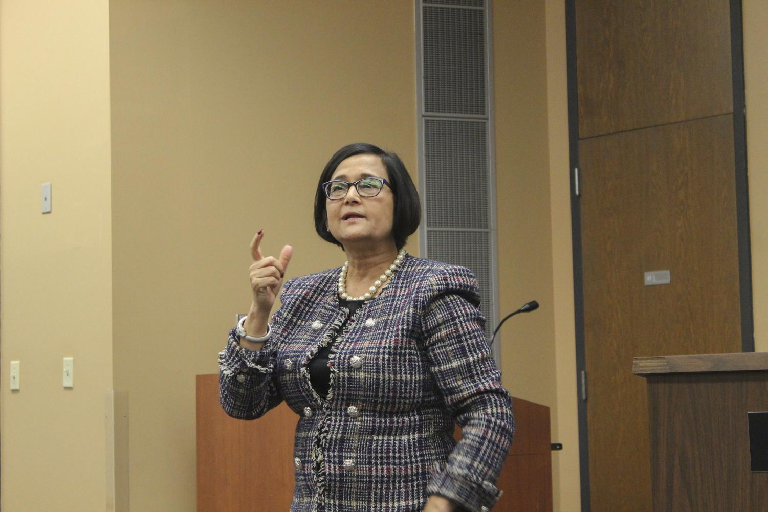 Tanuja Singh, Loyola's next provost, speaks to Loyola faculty about her vision for the university on Nov. 19. Photo credit: Cristian Orellana