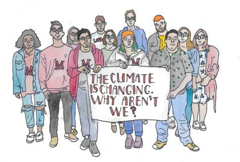 "An illustration of the Maroon staff holding up a banner that reads, ""The climate is changing. Why aren"