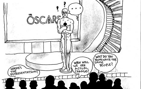 An illustration of the Oscar man being grilled about questions about diversity and inclusion.