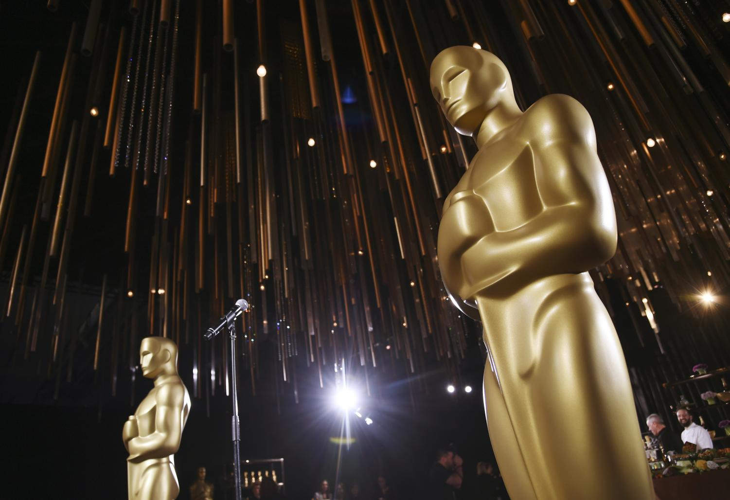 Oscar statues stand inside the Governors Ball Press Preview for the 92nd Academy Awards at the Dolby Theatre, Friday, Jan. 31, 2020, in Los Angeles. The Academy Awards will be held at the Dolby Theatre on Sunday, Feb. 9. (AP Photo/Chris Pizzello)