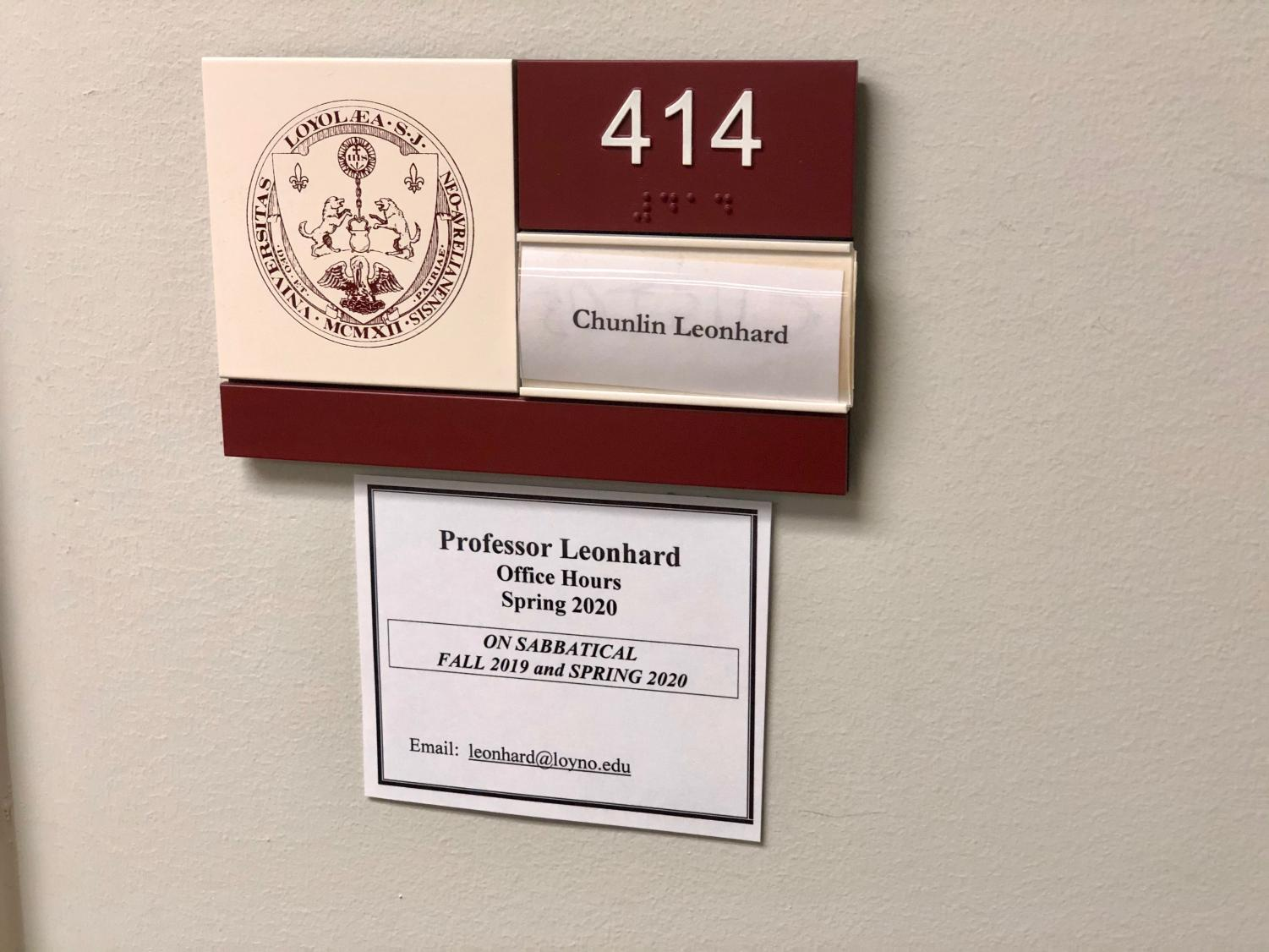 Loyola Law Professor Chunlin Leohard's office sits empty on Feb. 7 while the professor remains in coronavirus quarantine in California after evacuating Wuhan, China. Leonhard does not have any symptoms of coronavirus, according to media outlets, but is under federally mandated quarantine for two weeks.