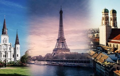 The St. Louis Cathedral, the Eiffel Tower and the Frauenkirche are iconic buildings in New Orleans, Paris and Munich. The Global MBA Triple Master Program lets students study in three cities while earning three degrees  Photo Illustration by Michael Bauer