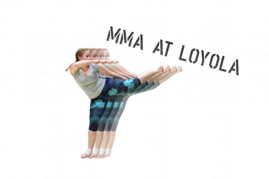 Sophomore Nora Cullinan, member of Loyola's MMA club, kicks. Gabriella Killett / The Maroon