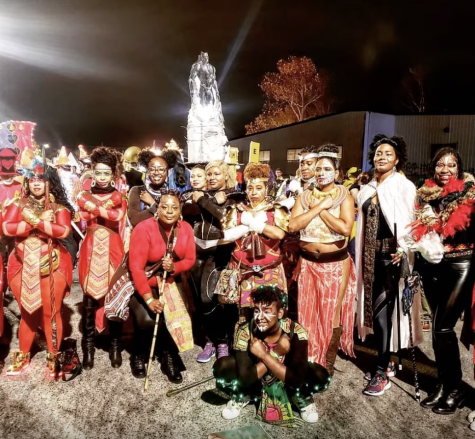 group picture of mardi gras crew in costume