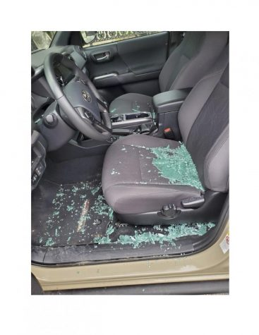 After a car break-in, glass from the smashed driver