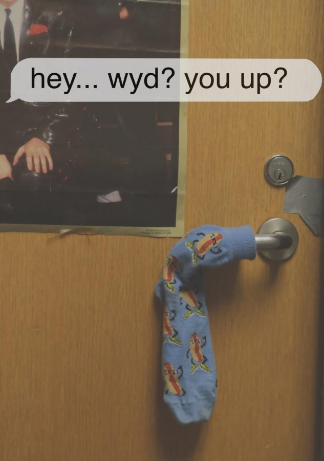 A sock on a door handle with a text tag on the top rading hey... wyd? you up?