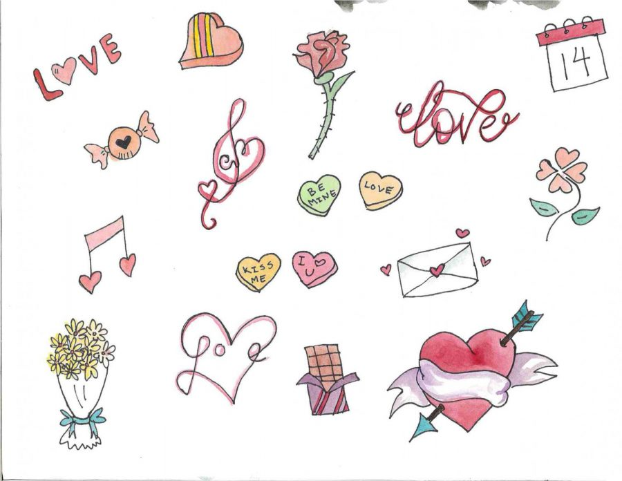 Valentine%27s+Day+theme+drawings+on+white+background