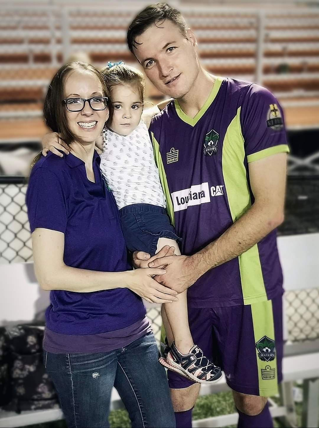 New Orleans Jesters soccer player Igor Shishcov poses with his wife, Julia and his daughter Alina. The Jesters