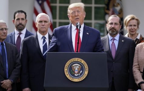 President Donald Trump announces a national emergency due to COVID-19 during a news conference about the coronavirus in the Rose Garden of the White House, Friday, March 13, 2020, in Washington.