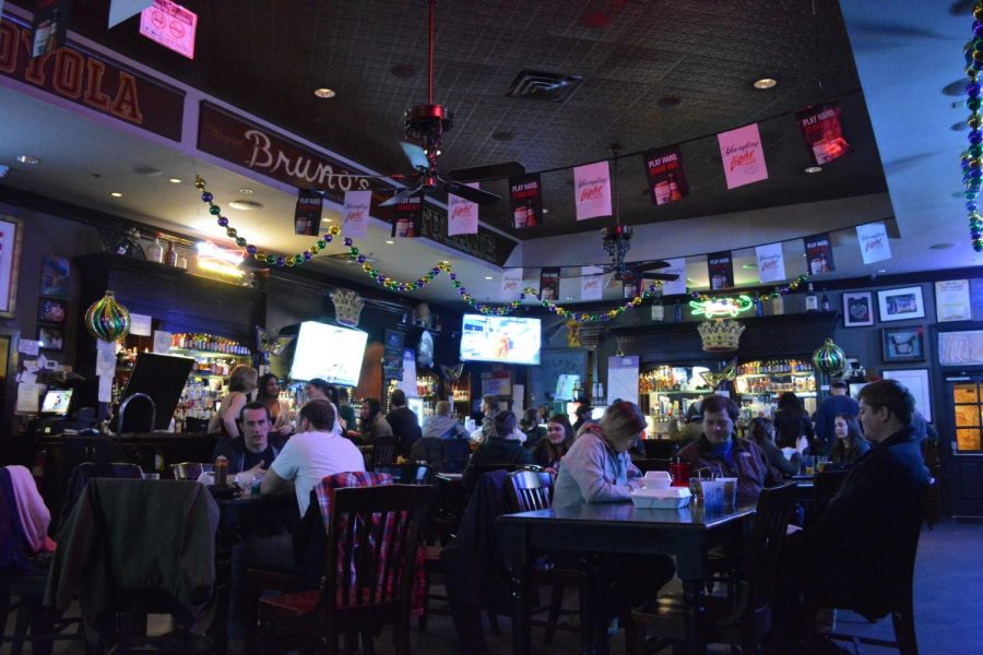 Patrons drink in Brunos on a Saturday night. Amid the spread of coronavirus across the city, Mayor LaToya Cantrell has issued a new set of rules for city restaurants and bars. The Maroon.