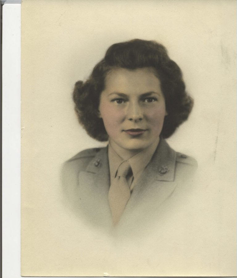 A portrait of Frances Skina Hoffmann when she served in the Marine Corps. Courtesy April Austin