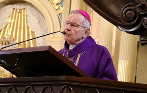 Archbishop of New Orleans Gregory Aymond speaks at a live-streamed mass in St. Louis Cathedral on March 22, 2020. Aymond announced Monday that he has tested positive for COVID-19.