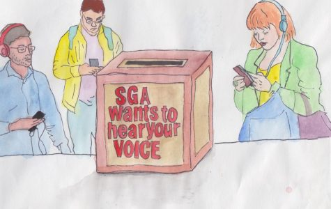 An illustration of apathetic students on their phones near a voting box for SGA
