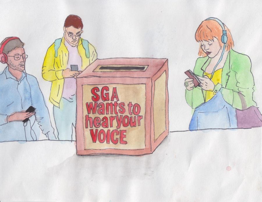 An+illustration+of+apathetic+students+on+their+phones+near+a+voting+box+for+SGA