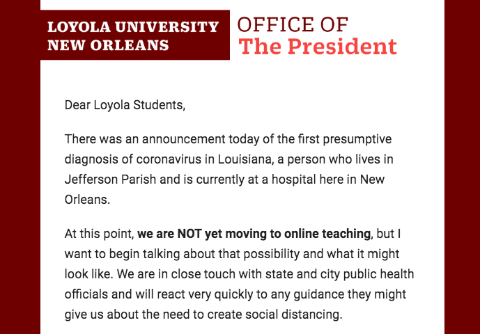 University President Tania Tetlow sent an email to students saying the university is prepared to move online should the COVID-19 outbreak require it.