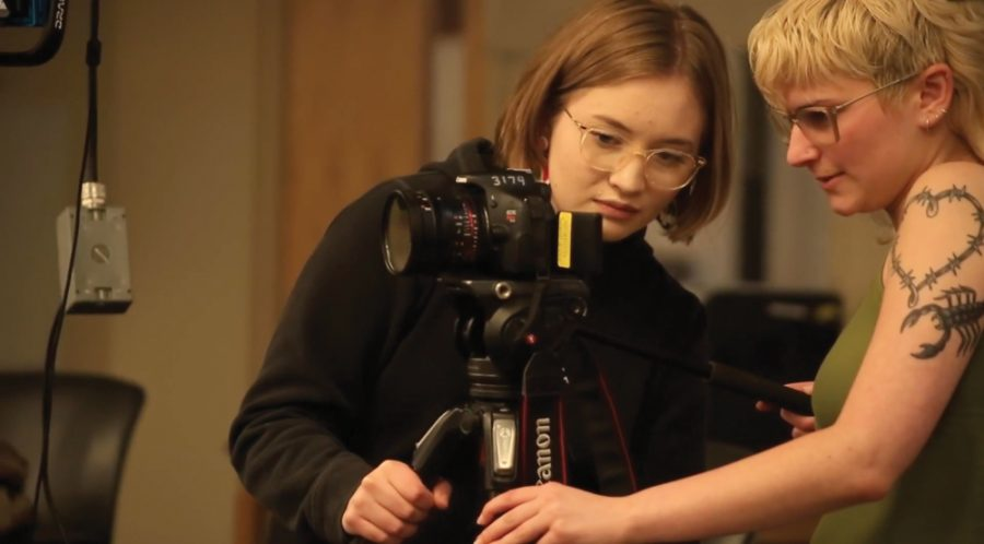 Peyton Finch operates her camera. Finch's documentary short,