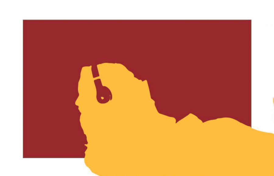 An illustration in maroon and gold block art of a girl listening to a podcast with headphones on